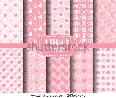 set of Heart seamless  patterns, for valentines day, Pattern Swatches, vector, Endless texture can be used for wallpaper, pattern fills, web page,background,surface - stock vector
