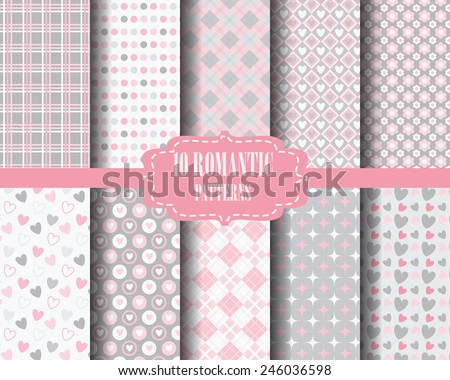 set of Heart, sweet pink pattern for valentines day, Pattern Swatches, vector, Endless texture can be used for wallpaper, pattern fills, web page,background,surface - stock vector