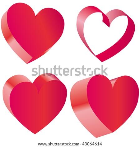 Set of heart Vector Illustration - stock vector