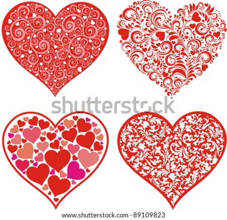 Set of hearts. Red valentine hearts in floral style isolated on White background. Vector illustration - stock vector