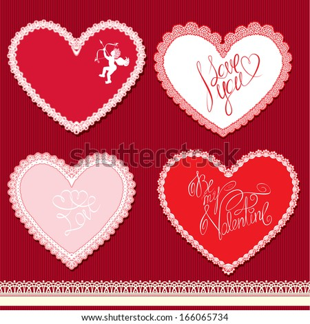 Set of hearts shape are made of lace doily, elements for Valentines Day or wedding design - stock vector