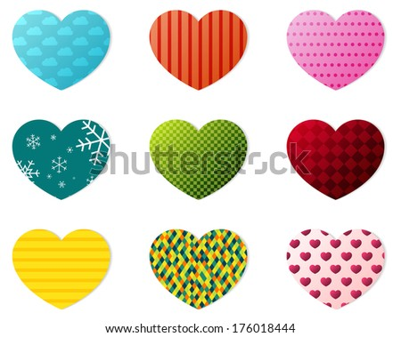 Set of 9 hearts with different patterns - stock vector