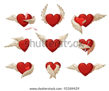 Set of hearts with wings. Isolated on white background. - stock vector