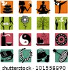 Set of heath care, sport and alternative medicine icons  • EPS 8 vector file - stock vector