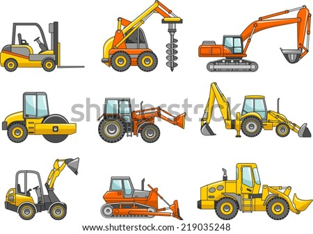 Set of heavy construction machines. Vector illustration - stock vector