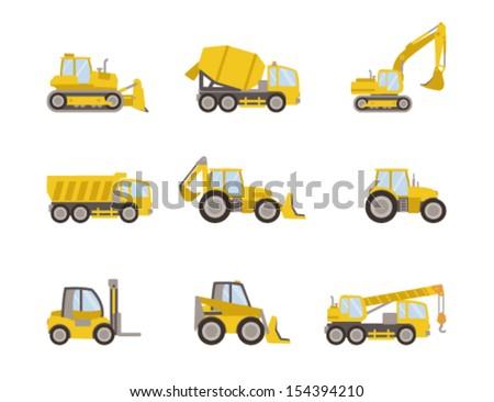set of heavy equipment icons - stock vector