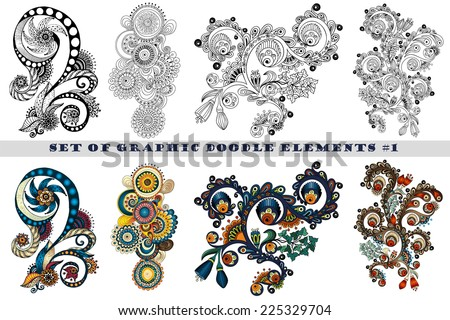Set of Henna Paisley Mehndi Doodles Abstract Floral Vector Illustration Design Element #1. Black and White plus Colored Version. - stock vector