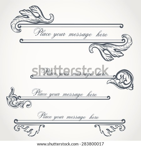 Set of heraldic flourish patterns for your vintage design. Vintage frame