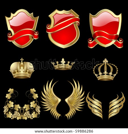 Set of heraldic gold and red design elements - stock vector