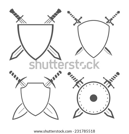 Set of heraldic shields and swords and sabres for heraldry design vector illustration - stock vector