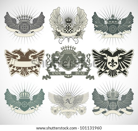 Set of heraldic symbols - stock vector