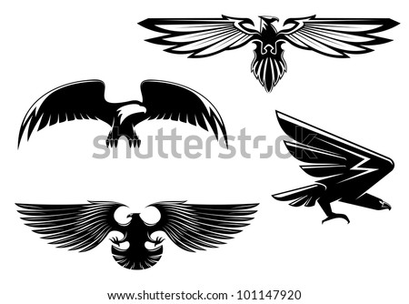 Set of heraldry eagles, hawks and falcons for tattoo or mascot design. Jpeg version also available in gallery - stock vector
