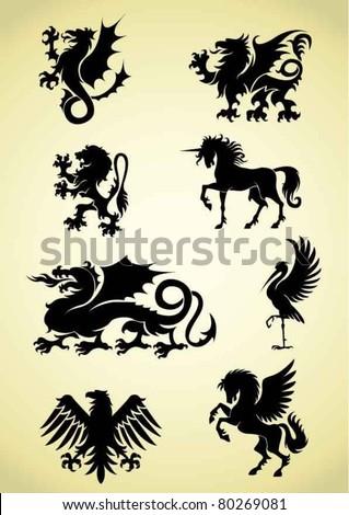 Set of heraldry mythological animals - stock vector