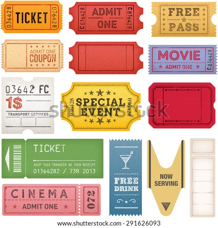 Set of high detail Vintage grunge Tickets and Coupons