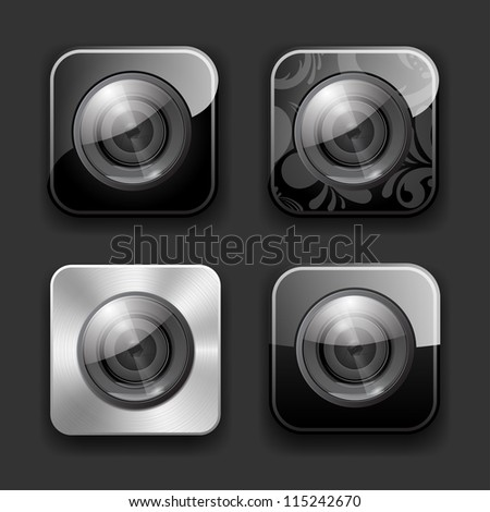 Set of high-detailed camera apps icons. - stock vector