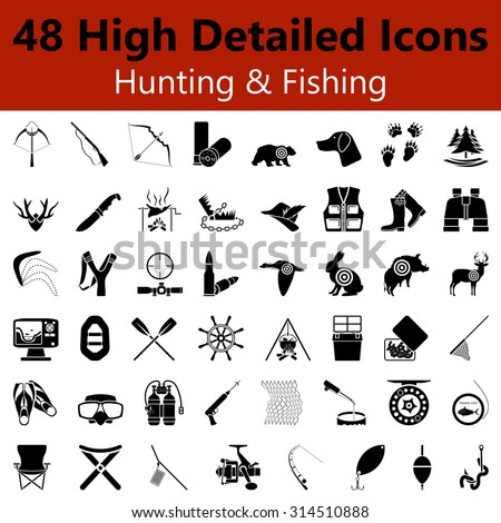 Set of High Detailed Hunting and Fishing Smooth Icons in Black Colors. Suitable For All Kind of Design (Web Page, Interface, Advertising, Polygraph and Other). Vector Illustration.  - stock vector