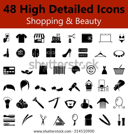 Set of High Detailed Shopping and Beauty Smooth Icons in Black Colors. Suitable For All Kind of Design (Web Page, Interface, Advertising, Polygraph and Other). Vector Illustration.