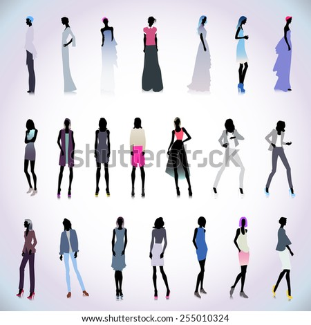 Set of high fashion female silhouettes in color clothes - stock vector