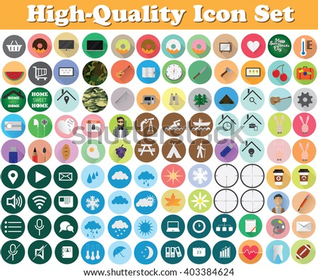 Set of high quality icons, Food icons, Travel icons, Weather Icons, Electrical icons, Business icons, Office icons, Camouflage icons. Vector illustration