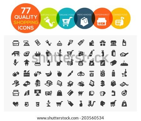 set of 77 high quality supermarket, shopping and online shopping icons including organic food, merchandise, meat, drink and more - stock vector