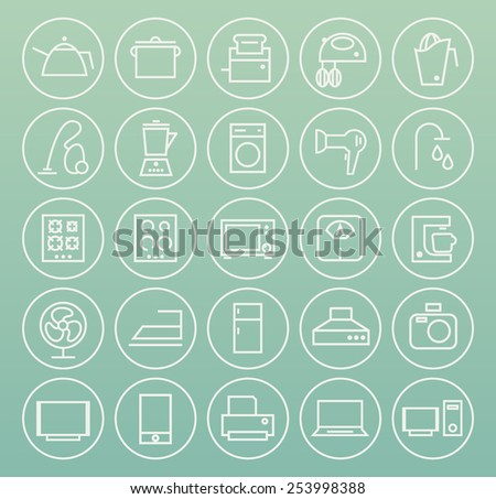 Set of High Quality Universal Standard Minimal Simple White Thin Line Home Appliances Icons on Circular Buttons on Color Background. - stock vector