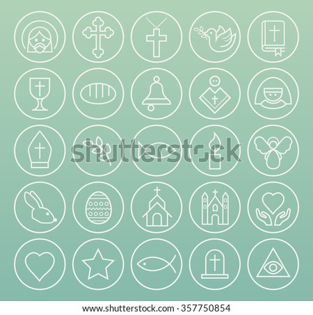Set of High Quality Universal Standard Minimalistic Simple White Thin Line Christian Icons on Circular Buttons on Color Background. - stock vector