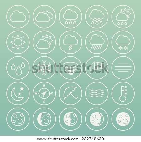 Set of High Quality Universal Standard Minimalistic Simple White Thin Line Weather Icons on Circular Buttons on Color Background. - stock vector