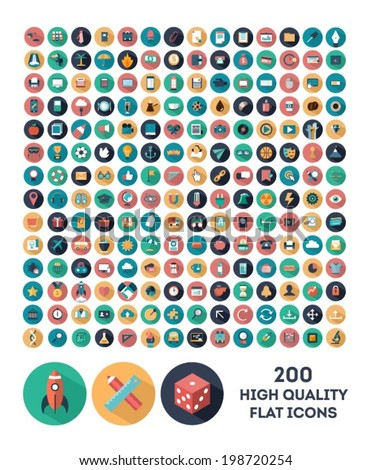 set of 200 high quality vector flat icons - stock vector
