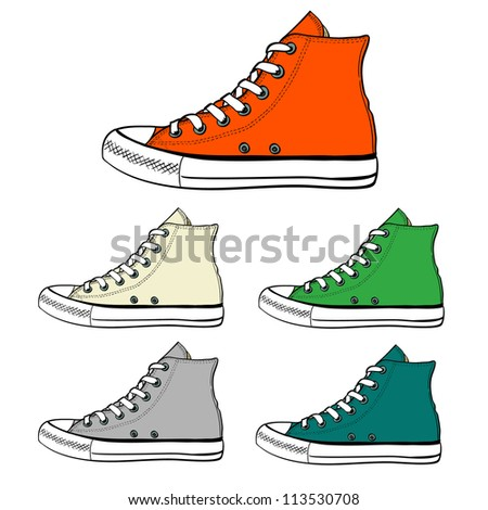 Set of high sneakers drawn in a sketch style. Side view of sneakers in different colors. Vector illustration. - stock vector
