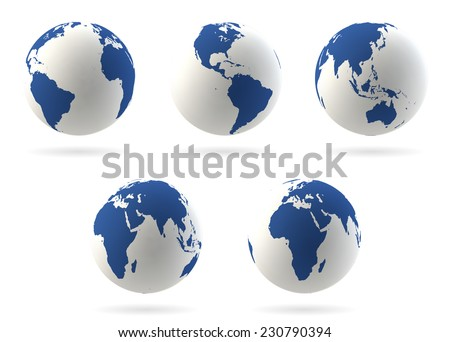 Set of highly detailed earth globes - stock vector