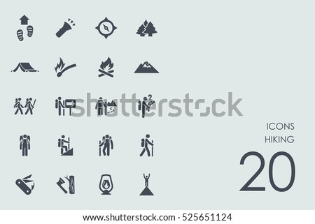 Set of hiking icons
