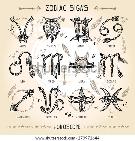 Set of hippie and bohemian style hand drawn zodiac signs. With decorative indian and boho elements: arrows, feathers, indian ornament. - stock vector