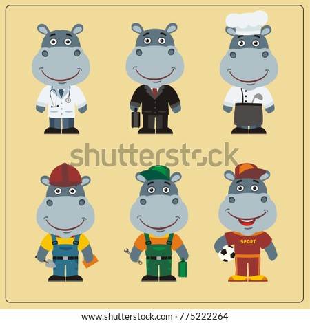 Set of hippo in different costumes: builder, sportsman, worker, a doctor, manager, cook. Collection of hippopotamus in clothes in cartoon style.