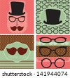set of hipster cards and background pattern - stock vector