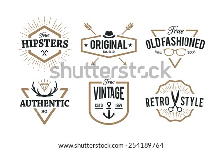 Set of hipster emblems isolated on white. Cool old fashioned labels for retro styled design. - stock vector