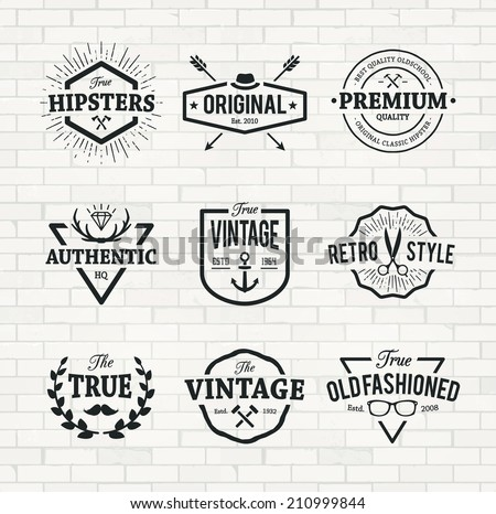 Set of hipster emblems on brick wall background. Cool old fashioned labels for retro styled design. - stock vector