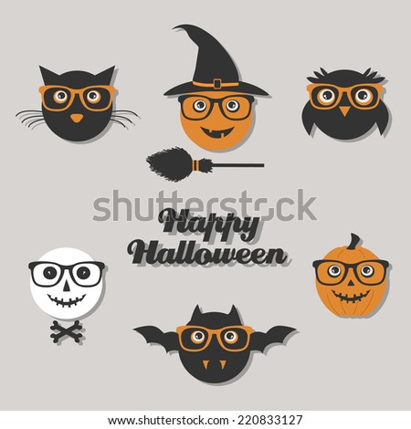 set of hipster Halloween characters
