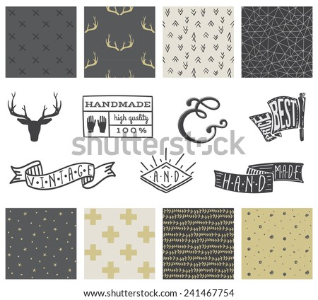 Set of 8 hipster hand drawn doodle seamless pattern and design elements - stock vector