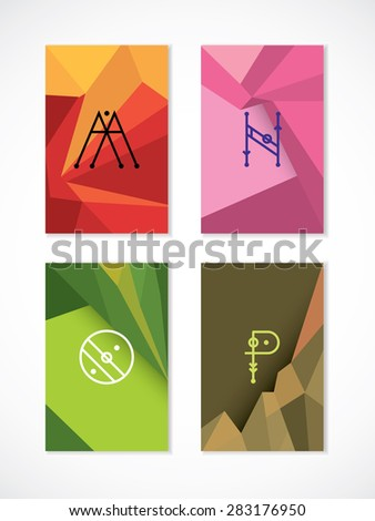 Set of hipster low poly, polygonal  cards. Letters M, N, O, P. Green, brown, pink, orange card colors - stock vector