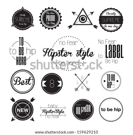 Set of hipster modern retro labels, stamps, signs, marks and calligraphy, text and stickers - stock vector