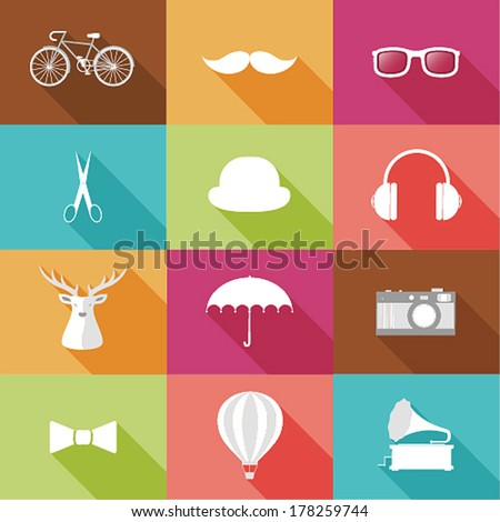 Set of Hipster objects. Vector illustration. - stock vector