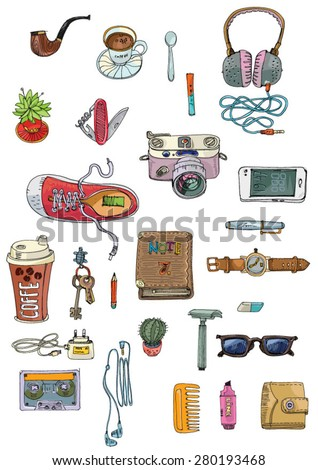 set of hipster's stuff - cartoon - stock vector