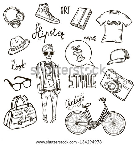 Set of hipster's style elements - stock vector