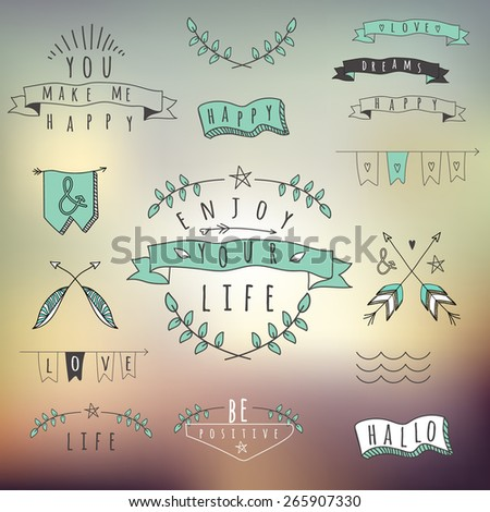 Set of hipster style words and elements. Elements collage - stock vector