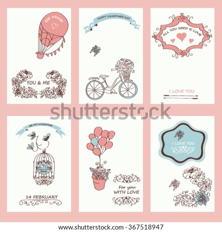 Set of hipster Valentine's Day typographic tags and labels in re
