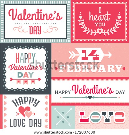 Set of hipster Valentine's Day typographic tags and labels in red and green with hearts and arrows. For greeting card, poster, menu, party invitation, social media, web banner, gift wrapping paper. - stock vector