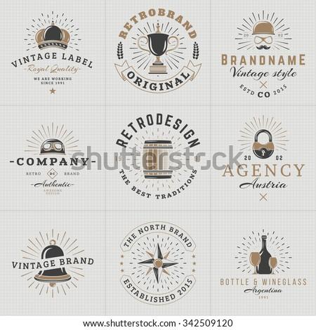 Set of Hipster Vintage Labels, Logotypes, Badges for Your Business. Crown, Helmet, Barrel, Lock, Bell, Star, Wine. Vector Illustration - stock vector