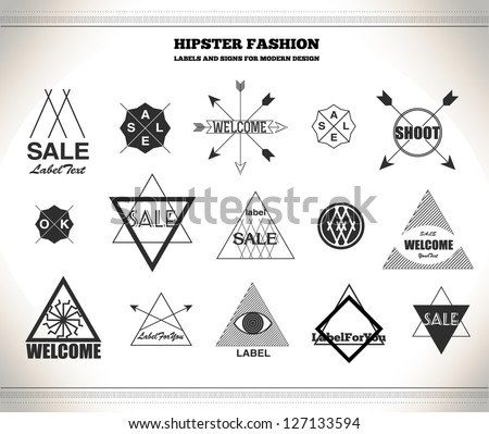Set of hipster vintage line flat retro labels, stamps, signs, marks and calligraphy, text and stickers - stock vector