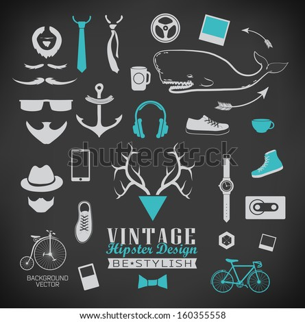 Set of hipster vintage retro chalk label and icon/ Set of hipster vintage retro sign - stock vector