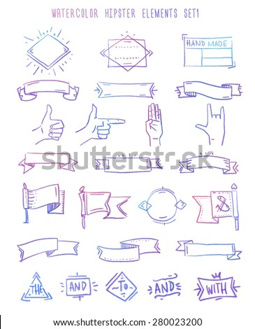 Set of hipster vintage retro labels and logo. Hand draw elements. - stock vector